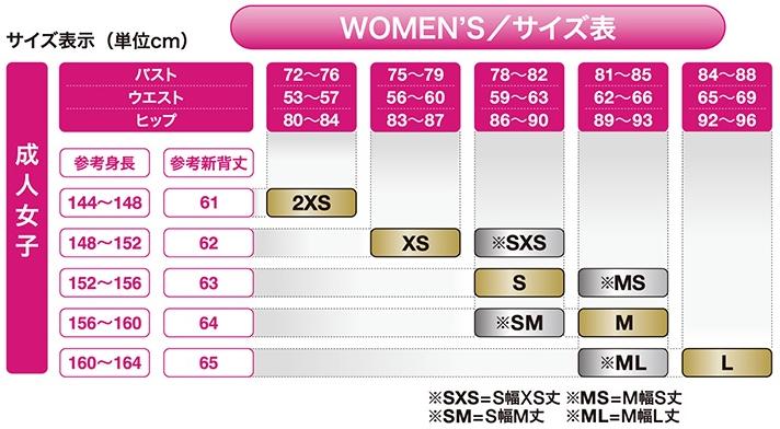 女子用サイズ表