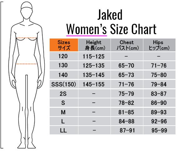 女性・ジュニア女子サイズ表