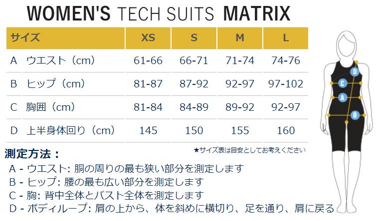 女性用サイズ表